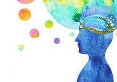 Aquarell mit blauem Kopf und farbiger Denkblase in Türkis Rosa und Orange